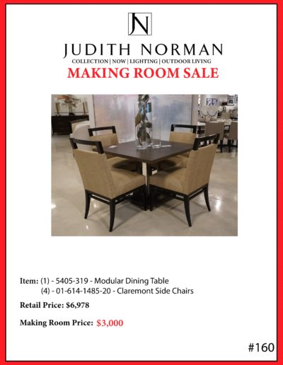 160 --- Modular Dining Table, (4) Claremont Side Chairs