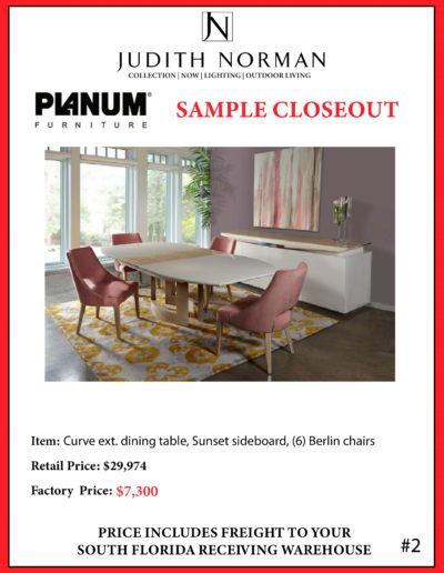 2 --- Curve ext. dining table, Sunset sideboard, (6) Berlin chairs